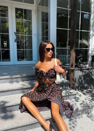 Идеальный костюм для этого лета - юбка и топ с оголенными плечиками❤🔥💛