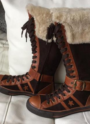 Converse высокие кеды-сапоги с натуральным мехом