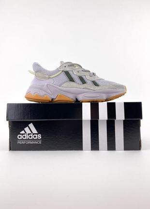 Новые женские легкие кроссовки adidas ozweego в сеточку легкие серые