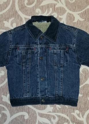 Теплая джинсовая куртка курточка на меху