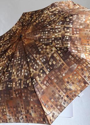 Зонт женский airton домики бежевый коричневый полный автомат