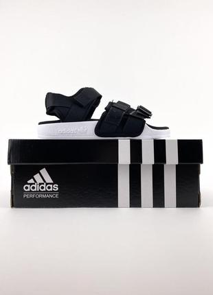 Новые мужские летние сандали босоножки adidas adelite black white чёрные