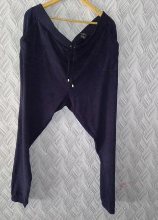 Штаны с карманами велюровые большой размер