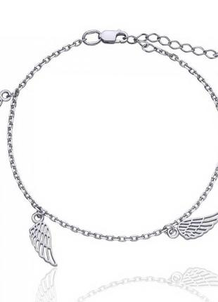 Серебряный браслет на ногу крылья 22-26 см