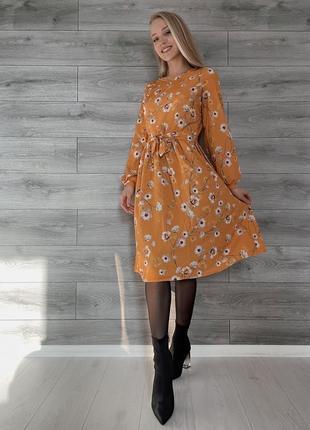 Платье до колена с цветочным принтом, длинный рукав, с поясом