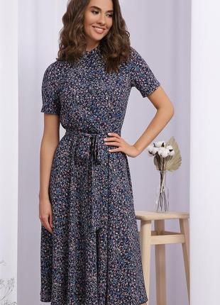 Сукня міді у квітковий принт синього кольору