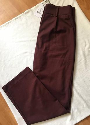 Новые брюки классические прямые бордовые марсала