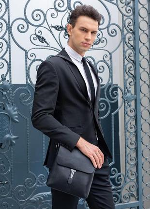 Стильная мужская деловая сумка на плечо из натуральной кожи чёрная сумка планшет барсетка чоловіча сумка