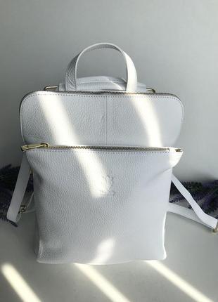 Сумка рюкзак натуральная кожа наплечо длинный ремешок vera pelle италия genuine leather белый polina
