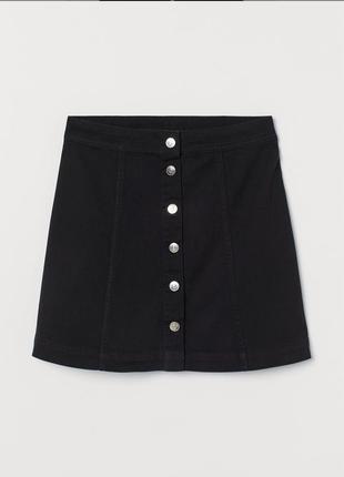 Джинсовая юбка трапеция на пуговицах h&m