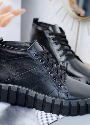 Ботинки женские деми черные кожаные на низком ходу из натуральной кожи демисезонные 6109