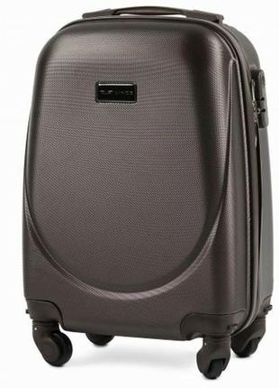 Чемодан дорожный (дорожная сумка) пластиковый на 4 колёсах маленький 310 s wings ( коричневый )