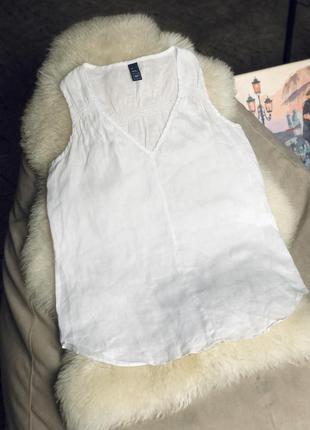 Натуральная лёгкая льняная блуза майка лён