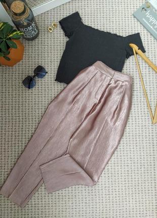 Роскошные укороченные блестящие брюки topshop