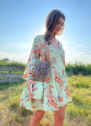 Платье в принт цветы
