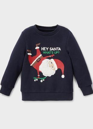 Новогодний свитшот с дедом морозом синий рождественский