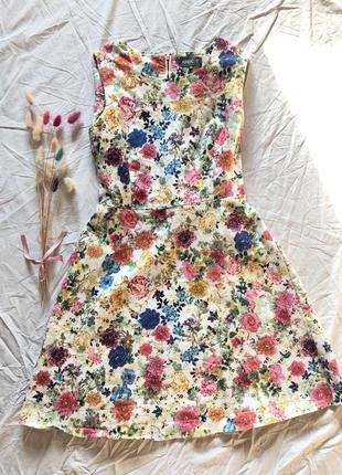 Шикарное платье в цветочный принт хлопок в винтажном стиле