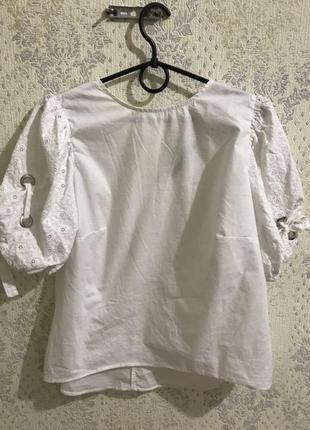 Блуза прошва рукава воланы открытая спина