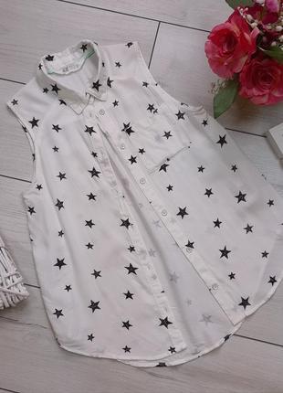 Вискозная рубашка h&m в звездочках