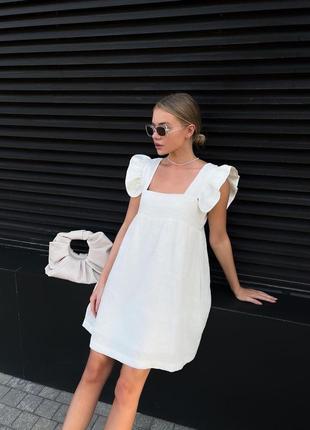 Стильное летнее платье сарафан с рукавом крылышком