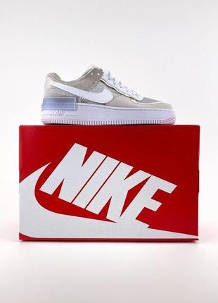 Новые женские легкие кроссовки nike air force 1 shadow pure platinum. кожаные найк демисезонные форс