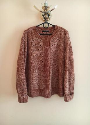 Батал большой размер тёплый мягкий свитер свитерок кофта коричневый
