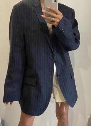 Пиджак жакет оверсайз свободного кроя лен льняной пиджак большой размер