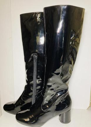 Лакированные демисезонные сапожки ботфорты сапоги женские чёрные 37 38 размер