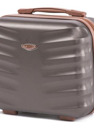 Чемодан дорожный (кейс-пилот) пластиковый мини 402 xs wings ( коричневый / coffee )