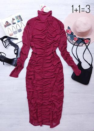 Na-kd вечернее платье в обтяжку м длинный рукав марсала бордо миди макси длинное тренд
