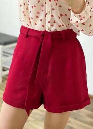 Красные шорты с поясом boohoo