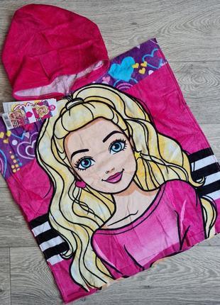 Пляжное детское полотенце пончо с капюшоном с барби, disney для девочки