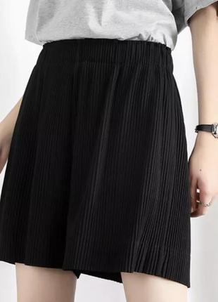 Шорты широкие летние нарядные, широкие чёрные шорты, шорти чорні широкі з завищеною талією