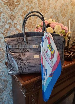 Кожаная женская сумка hermes birkin, идеальная стильная лиловая