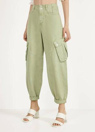 Фисташковые джинсы - слоучи bershka