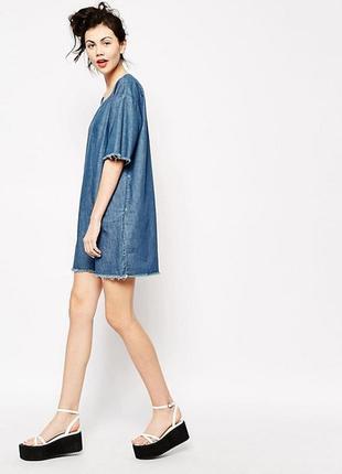 Джинсовое платье оверсайз oversize от английского бренда monki/лён,коттон