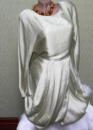 Атласное шелковое платье от h&m