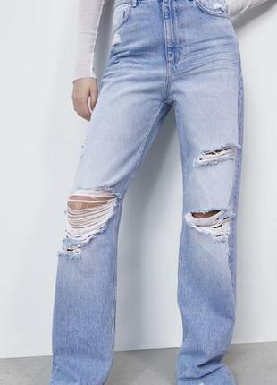 Шикарные новые широкие прямые джинсы джинсы zara размер 36