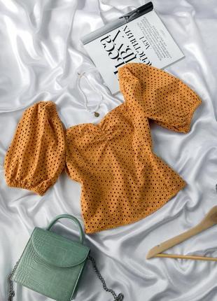 Топ с квадратной горловиной из прошвы шитьё хлопок блуза футболка объемными рукавами пышными