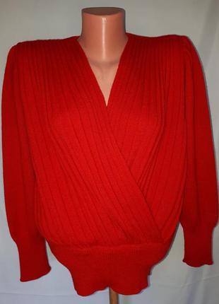 Винтаж! красный шерстяной пуловер на запах altra (размер 38-40)
