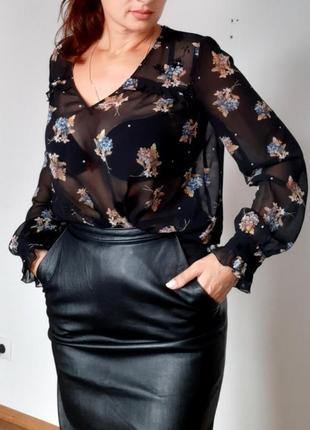 Шифоновая блуза zara . прозрачная блуза в цветочный принт новая коллекция