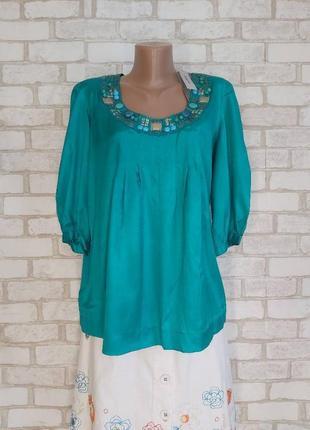 Обалденная блуза со 100 % вискозы с украшением цвета бирюза/мята, размер 3хл