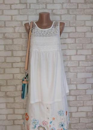 Фирменная yessica белоснежная блуза/майка со 100% хлопка с кружевом, размер м-л