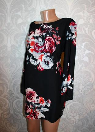 Блуза туника черная в принт цветов, soon, 20 (1308)