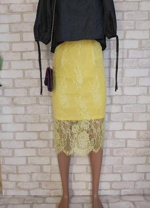 Фирменная glamorous нарядная кружевная юбка миди в жёлтом цвете, размер хс