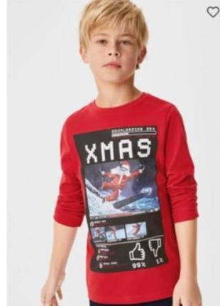134/140, 146/152, 158/164. футболка новогодняя с длинным рукавом xmas c&a. в наличии!