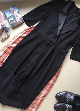 🖤стильний комбінезон штанами на рукав 3/4 з атласними комірцем брючный комбинезон