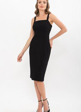 👠черное платье миди футляр на широких бретелях с разрезом сзади 3 цвета