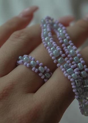Кольцо и браслет из бисера