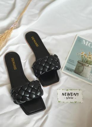 Женские чёрные шлёпанцы шлепанцы с квадратным носком и плетением косичка, ботега, жіночі шльопанці